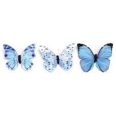 Бабочки, ассорти, 11см, голубой